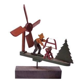 Circa 1940s Folkart Woodsman / Lumberjack Whirligig For Sale
