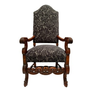 1870s Jacobean Revival Throne Chair For Sale