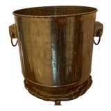 Image of Vintage Brass Embossed Planter For Sale