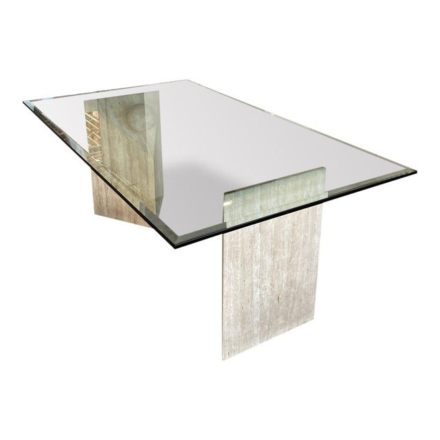 1990s Travertine + Glass Dining Table For Sale