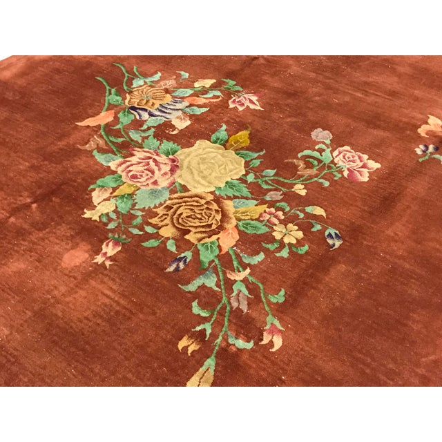Contemporary Contemporary Hand Woven Brown Floral Wool Rug - 9'0 X 12'0 For Sale - Image 3 of 4
