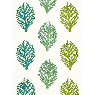 Scalamandre Coral Reef Embroidery, Seagrass Fabric For Sale
