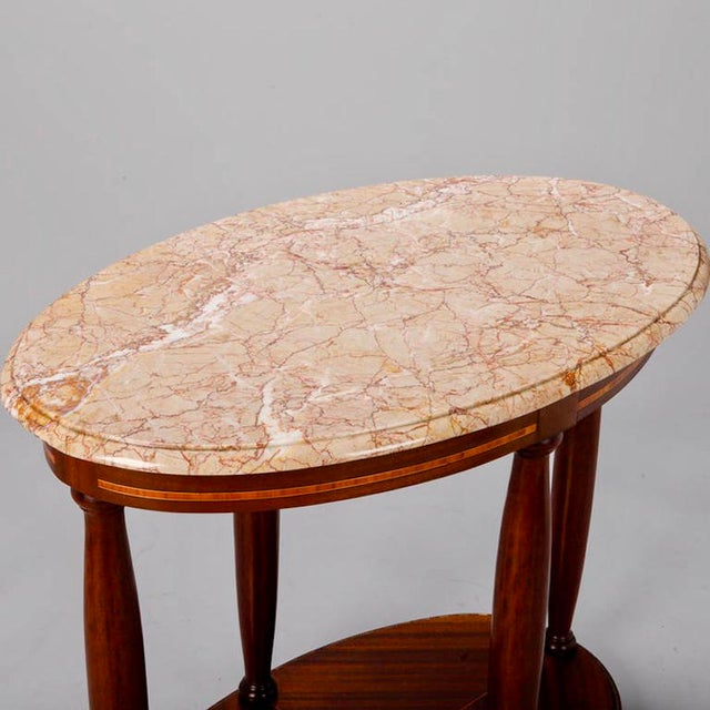 French Directoire Oval Center Table with Rouge Marble Top For Sale - Image 4 of 7