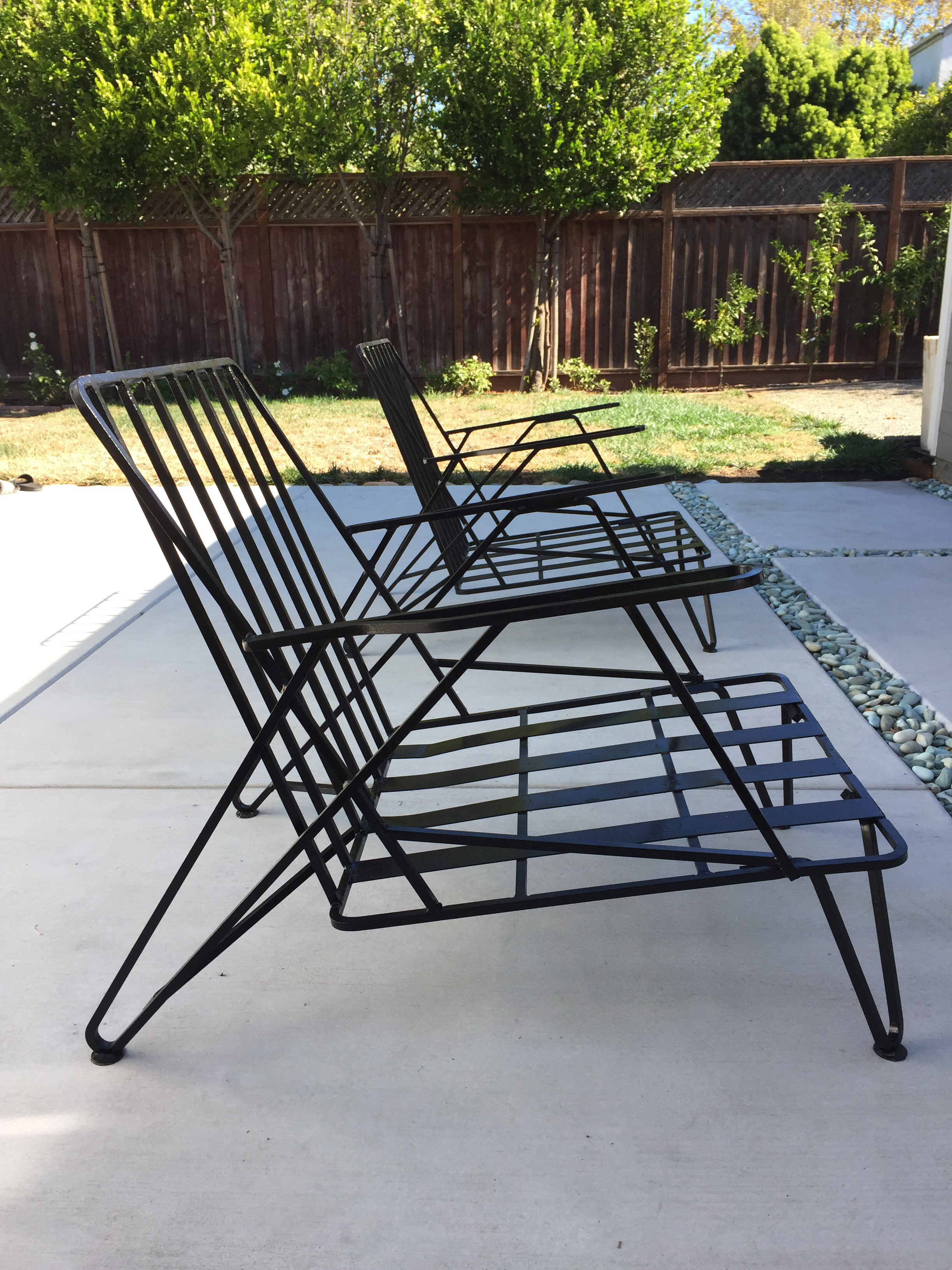Mid Century Modern Iron Chairs A Pair Chairish