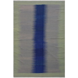 Contemporary Kilim Amina Gray/Blue Hand-Woven Wool Rug - 6'0 X 9'0 For Sale