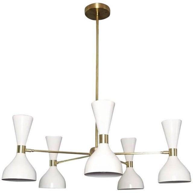 "2010s Blueprint Lighting White Enamel & Brass ""Ludo"" Round Chandelier For Sale - Image 5 of 5"