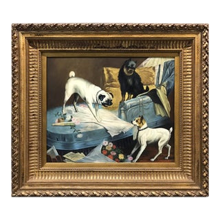 Large Dog Painting With Ornate Frame For Sale