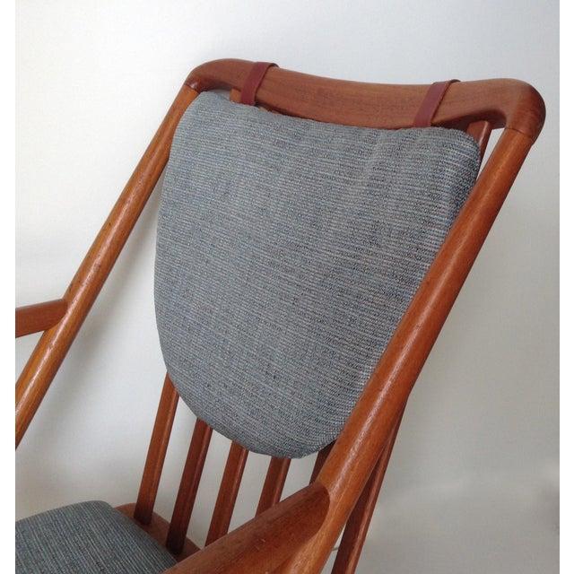 Blue Benny Linden Danish Mid-Century Teak Rocking Chair For Sale - Image 8 of 11