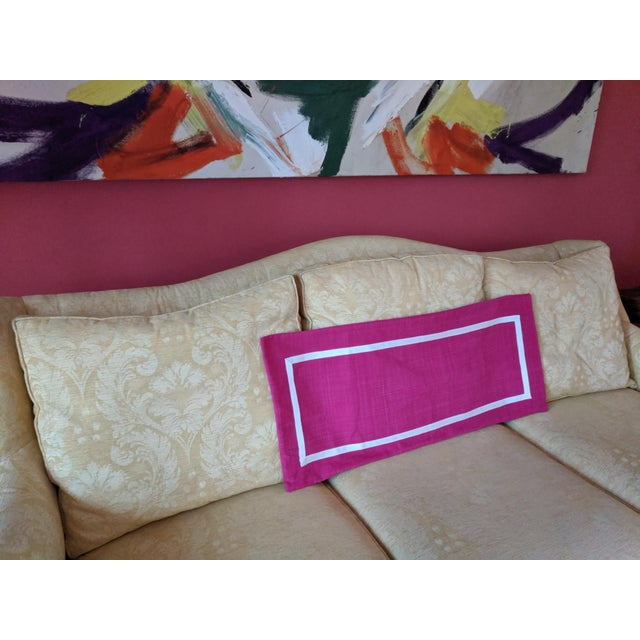Custom Magenta Pink Linen Pillow Cover For Sale - Image 4 of 12