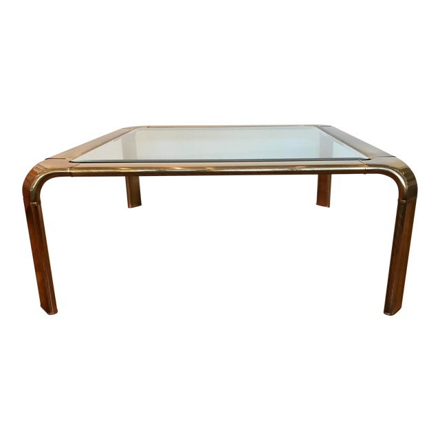 1970s Modern Mastercraft for Baker Brass Glass Cocktail Coffee Table John Widdicomb For Sale