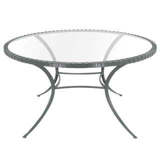 Incredible Round Klismos Leg Cast Aluminum Dining Table by Thinline For Sale