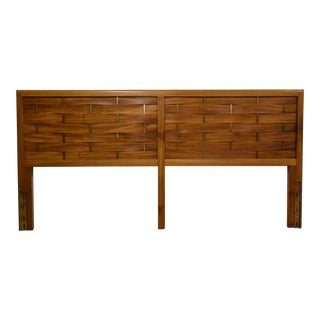Harvey Probber Mahogany & Brass King Headboard For Sale