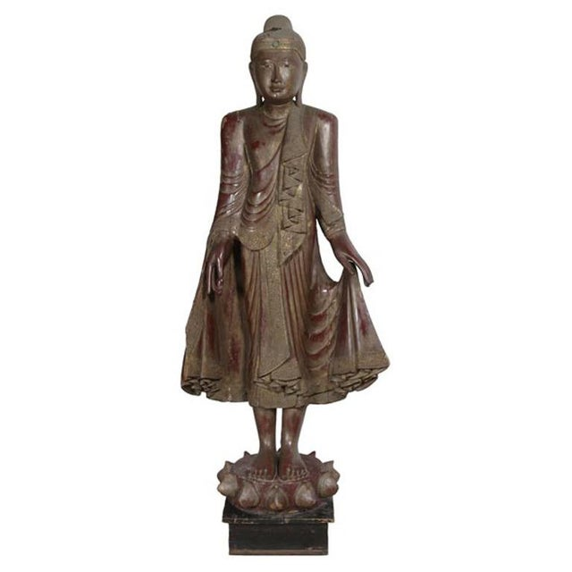Carved Wood Buddha Statue - Image 3 of 8