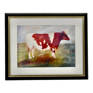Vintage Cow Print in Frame Rustic Texas Farmhouse For Sale