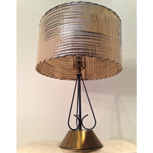 Atomic Era Wire and Brass Table Lamp - Image 3 of 7