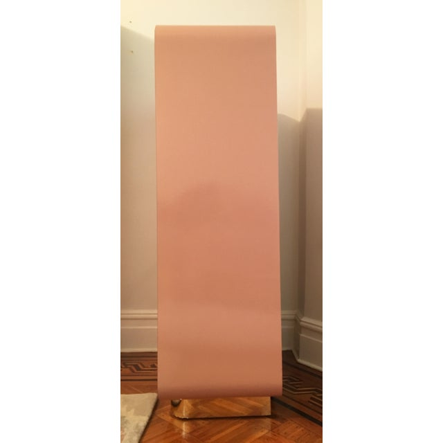 Contemporary Modern Rose Pink Laminate Armoire With Brass Base For Sale - Image 3 of 12