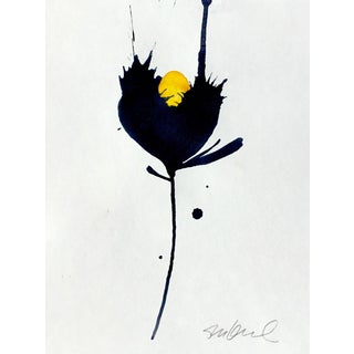 Black & Yellow Botanical Painting For Sale