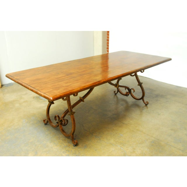 Spanish Colonial Trestle Table With Wrought Iron - Image 9 of 10