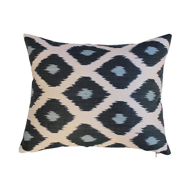 Pair of custom pillows made from a vintage silk ikat from the Grand Bazaar in Istanbul. Linen backs, hidden zipper...