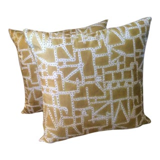 "Donghia ""Prickly Pear"" Sun-Printed Hand Stitched Pillows - A Pair"