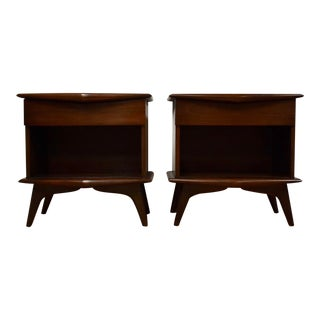 Walnut Sculptural Nightstands- a Pair