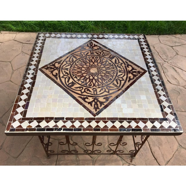 Moroccan Square Brown and Grey Mosaic Tile Coffee Table on Iron Base For Sale In Los Angeles - Image 6 of 12