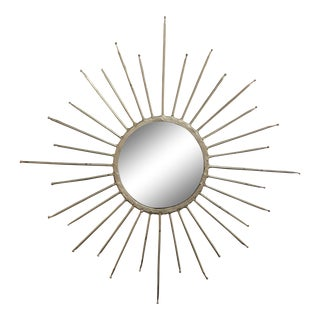 Mid-Century Modern Silver Starburst Mirror For Sale