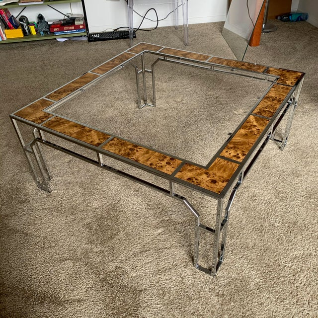 Chrome and Burl Wood Chippendale Style Square Coffee Table For Sale - Image 9 of 9