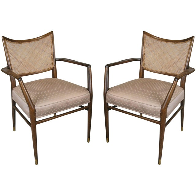 Brass 1950s Stylish Mid Century Walnut and Cane Armchairs - a Pair For Sale - Image 7 of 7