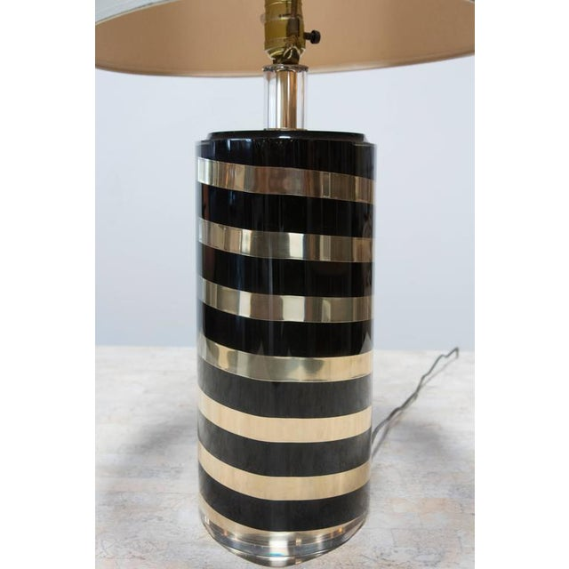 Modern Black and Gold Striped Lucite Lamp For Sale - Image 3 of 6