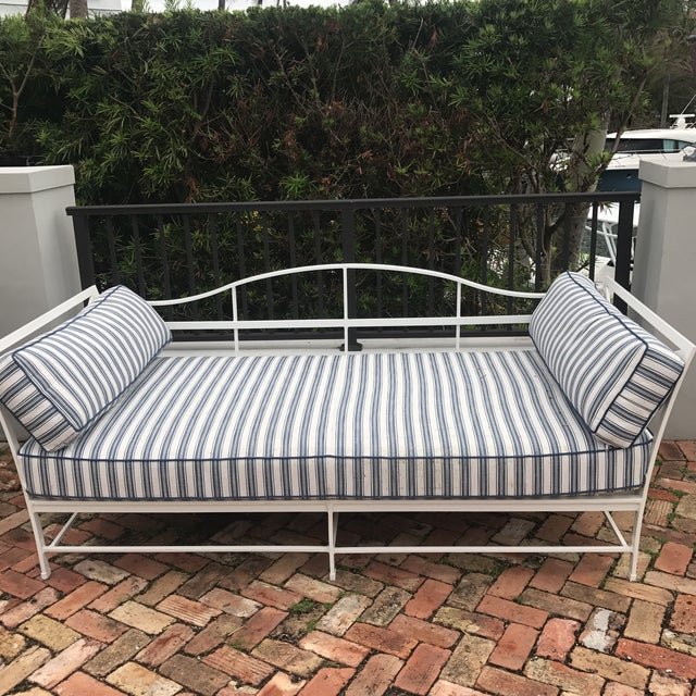 Cast Iron Sunbrella Upholstered Outdoor Daybed For Sale - Image 4 of 7