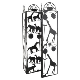 Four-Panel Metal Screen With Animal Silhouettes For Sale