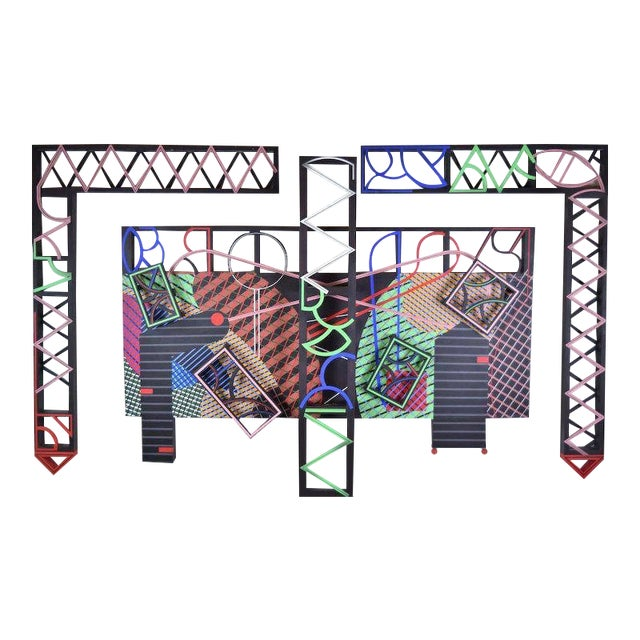 """1991 Contemporary Geometric Polychrome Wood Canvas Wall Sculpture, """"Latticed Planes Two"""" For Sale"""