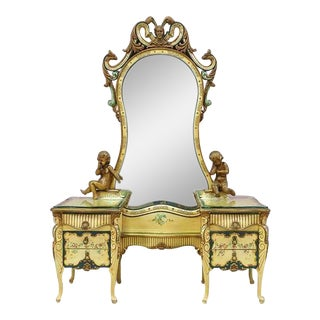 1920s Italian Baroque Painted Vanity Dresser For Sale