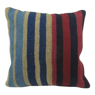 Vintage Handwoven Colorful Striped Turkish Kilim Pillow Cover For Sale