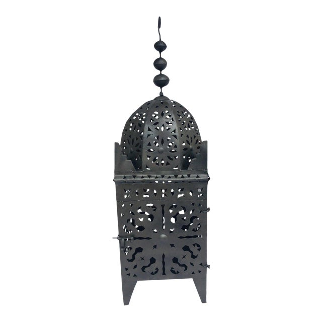 Large Moroccan Hurricane Metal Candle Lantern For Sale
