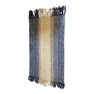Handwoven Ombre Throw With Fringe For Sale