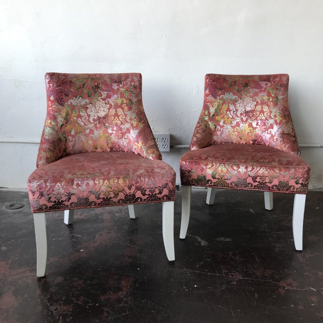Textile Vintage Pink & Rainbow Upholstered Vanity Chairs - a Pair For Sale - Image 7 of 8
