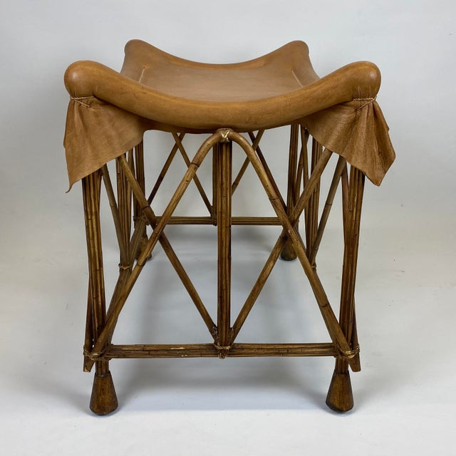 Hollywood Regency Late 20th Century Rattan Stool With Soft Leather Seat For Sale - Image 3 of 12