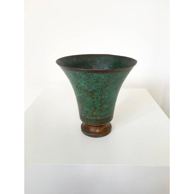 Carl Sorensen Signed Bronze Verdigris Vases For Sale - Image 9 of 10