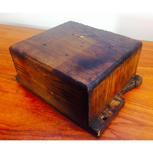 1930s 1930's Primitive LockSmith Wood 2 Drawer Cabinet For Sale - Image 5 of 6