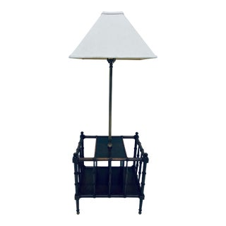 Frederick Cooper Faux Bamboo and Brass Floor Table Lamp For Sale