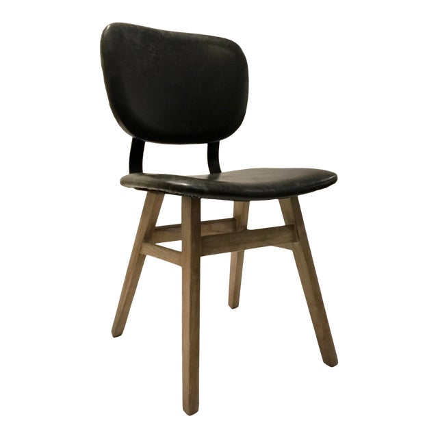 Industrial Modern Black Faux Leather Side Chair/Desk Chair For Sale