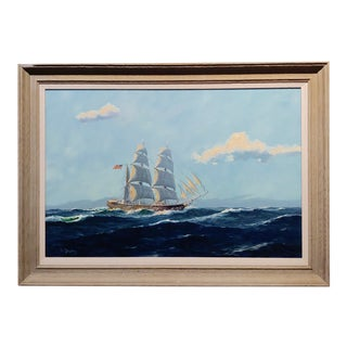 William Hughes American Ship at Sea -Oil Painting For Sale