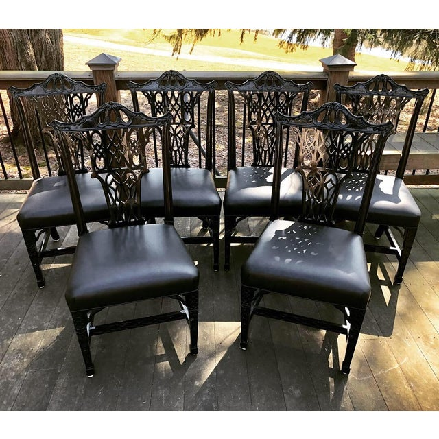 1980s Vintage Chinese Chippendale Pagoda Chairs- Set of 6 For Sale - Image 9 of 11