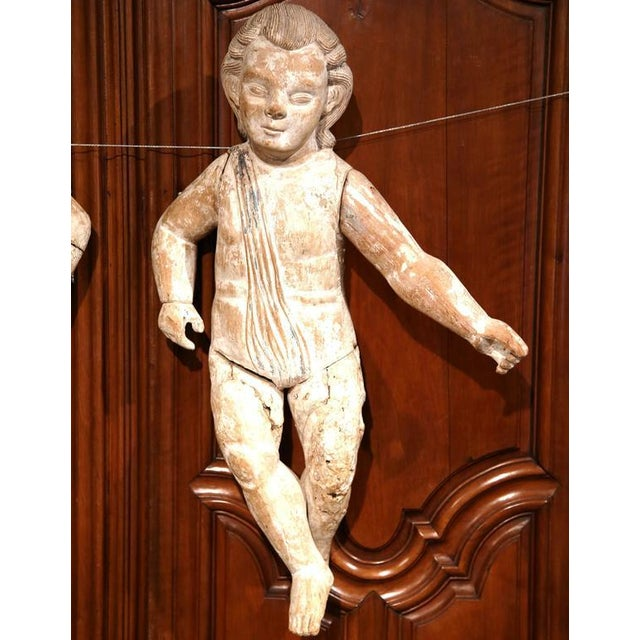 Italian Mid-18th Century Italian Hand-Carved White Wash Cherubs - A Pair For Sale - Image 3 of 10