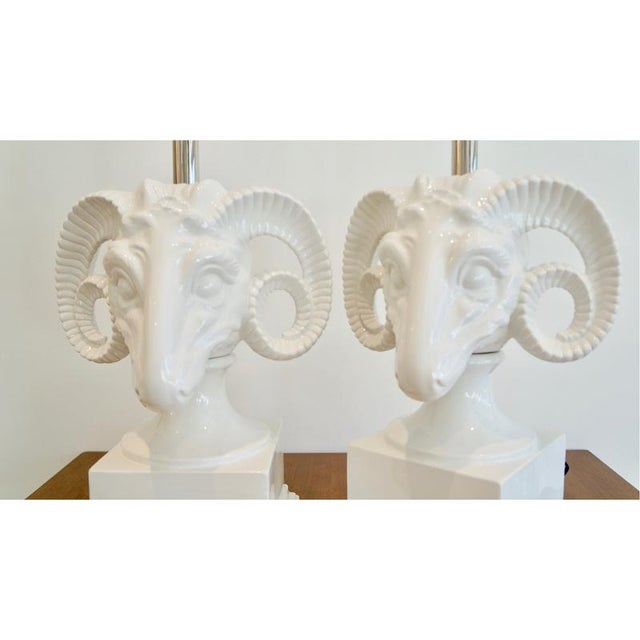 Hollywood Regency 1960s Ceramic Rams Head Table Lamps - a Pair For Sale - Image 3 of 9