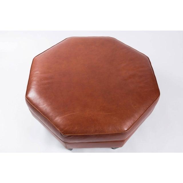 Custom Edelman Leather Hexagonal Ottoman For Sale - Image 4 of 8