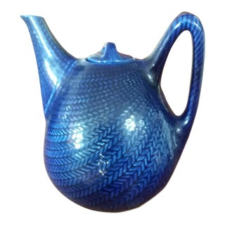 1940s Swedish Hertha Bengtson for Rostrand Blue Fire Pattern Teapot For Sale