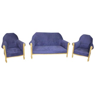 1920s Paul Follot French Art Deco Settee & Chairs - Set of 3 For Sale